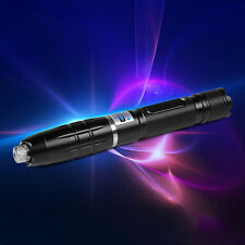 Powerful Burning 450nm Blue Laser Pointer Focusable Class4 Lazer Pen+5 Star Caps