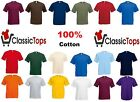 Classictops plain t-shirts mens t shirts womens blank 100% cotton casual t shirt