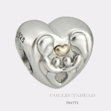 Authentic Pandora Sterling Silver & 14K Gold Heart of the Family Bead 791771