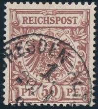 DR 1890, MiNr. 50 d I, guter Plattenfehler, Befund Wiegand, Mi. 250,-