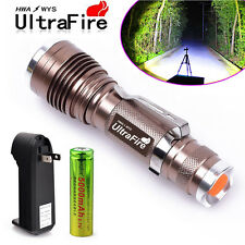 1Set Ultrafire Tactical CREE LED Rechargeable Flashlight Torch +Battery +Charger