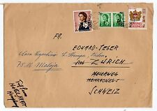 HONG KONG: QEII COVER TO SWITZERLAND RETURNED TO SENDER (C20477)
