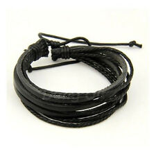 Multilayer Fashion Style Leather Charm Surfer Tribal Wrap Bracelet for Men Women