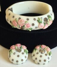 Vintage Weiss Clamper Bracelet Earring Set~Thermoplastic/Celluloid~Cream/Gray RS