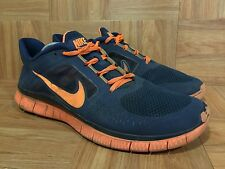 RARE�� Nike Free Run+ 3 Light Midnight Navy Blue Orange Sz 14 510642-480 Running