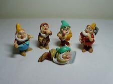 Lot 5 Disney Snow White Dwarf PVC Rubber Figures Doc Sleepy Bashful Sneezy Happy