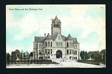 Rochester Indiana IN 1909 Old 3 Story Court House, Jail Building, Huge Clock Twr