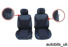 BLACK FABRIC FRONT SEAT COVERS FOR VW CADDY TRANSPORTER T4 T5 MULTIVAN LT