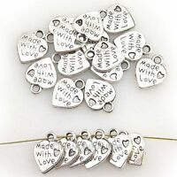 50PCS WHOLESALE SILVER/GOLD PLATED LOVE HEART BEADS CHARMS PENDANTS JEWELRY DIY