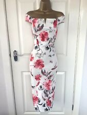 White / Red Flower Detail Bodycon Wiggle Pencil Midi Dress Size 14 /- Brand New
