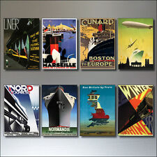 8 Vintage Travel Posters Fridge Magnets from Art Deco Period Retro repro No.1