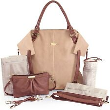 Timi & Leslie Charlie Faux Leather 7 Piece Baby Diaper Bag Sand/Cinnamon NEW