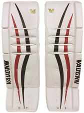 "New Vaughn 1000 senior ice hockey goalie leg pads 32""+2 Sr Velocity V6 Black/Red"