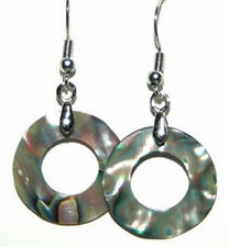 ABALONE SHELL RING DANGLE EARRINGS (D297)