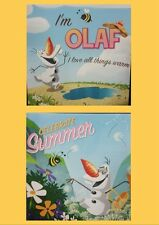 DISNEY FROZEN OLAF WALL ART CANVAS PRINT SET OF 2 READY TO HANG GIFT IDEA 30cm