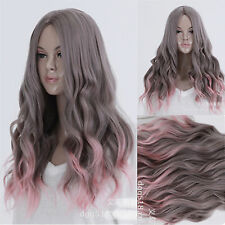 Harajuku Gray Pink Mix Ombre Hair Cosplay Party Wig Wavy Curly Long Costume Wig