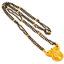 Mangalsutra One Two Gram Gold Plated Real Design Black Polki Jewelry Set 7331