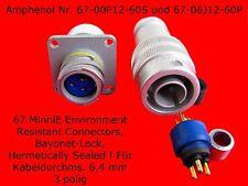 Steckverbinder 3 pol. MIL Bajonettverschluss Rundsteckverbinder Stecker Elektron