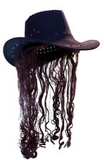 Black Cowboy Hat Brown Hair Redneck Costume Red Neck Adult Mens Cow Boy Mullet