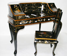 oriental furniture desk black lacquer mother of pearl asian office furniture