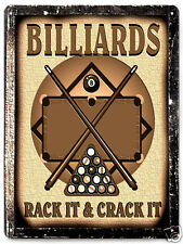 BILLARDS metal SIGN POOL table GAME ROOM wall decor mancave art  GREAT GIFT 283