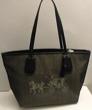 NWT Coach 35337 Embossed Horse And Carriage Taxi Zip Tote In Canvas Black Chalk