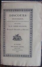 DISCOURS D'INAUGURATION  SALLE DE SPECTACLE DU HAVRE 1823