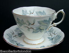 Vintage 1970's Royal Albert Silver Maple Pattern Tea Cups & Saucers Look in VGC