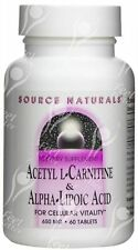 Source Naturals Acetyl L Carnitine & Alpha Lipoic Acid - 650mg x60 - BESTSELLER!