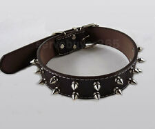 Adjustable Leather 2-rows Studded Spiked Dog Collar Large L Black Pet Gift New