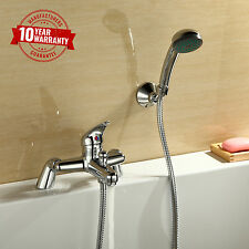 New Modern Chrome Bath Filler Shower Mixer Tap With Hand Held Shower Mixer
