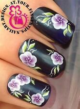 NAIL ART WATER TRANSFERS DECALS STICKERS DECORATION SET GIRLY FLOWERS LEAVE #487