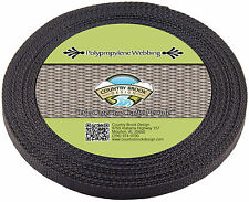 Country Brook Design® 1/2 Inch Black Polypro Webbing, 50 Yards