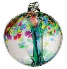 """Rare Family Tree of Enchantment 6"""" Hanging Witch Ball Ornament Kitras Art Glass"""