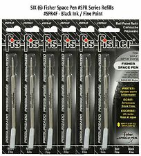 Six Fisher Space Pen #SPR4F Black Ink / Fine Point Refills / Also Fits Parker