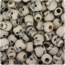 150 Dark Ivory Antique 11mm Halloween Skull Pony Beads Made in the USA