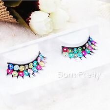 Fashion Colorful Rhinestoned False Eyelashes Eye Lashes Party Stage Eye Makeup