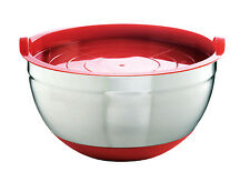 Mastrad Stainless Steel 22cm Non Slip Mixing Salad Food Prep Bowl with Lid Red