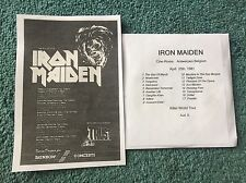 Iron Maiden UK Killers Tour Ad Copy  + Free Double CD Antwerpen Belgium  1981