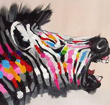 ZEBRA PRINT RAINBOW COLOUR  satin poster LARGE 60cm x 60cm