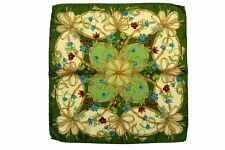 Battisti Pocket Square Leaf green with beige floral pattern, pure silk