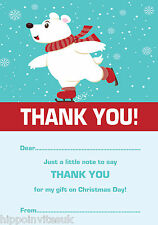 Christmas Thank You Notes x 20 A5 +envs - Polar Bear Skating H1189