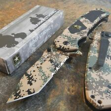 ARMY Spring Assisted Opening TANTO Tactical Folding Pocket Knife DESERT CAMO