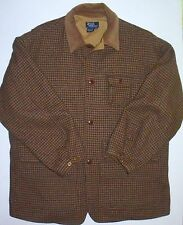 Men's XL Polo Ralph Lauren Houndstooth Wool Hunting Jacket Cotton Lined GHS