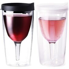 Vino2go Wine Black Clear Acrylic Glass Tumbler Insulated Lid Goblet Picnic 2 Set