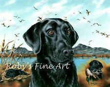 """Labrador Art Print Black Lab Duck Hunting 5x7 """"One More Year"""" by Roby Baer PSA"""