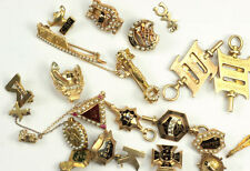 21 Vintage Fraternity Sorority Keys, Shields Pins Gold Antique (100 Years Old!)