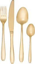 24 Piece Glamour Gold Plated Stainless Steel Cutlery Set Made From Brushed Steel