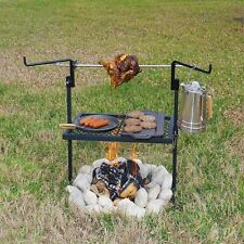 Outdoor Rotisserie Grill Stainless Steel BBQ Camping Cooking Campfire Spit Camp