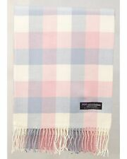 100% Cashmere Scarf Cream Pink Check Tartan Graham Plaid SCOTLAND Wool Women R10